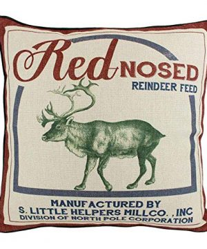 JuniperLab Vintage Christmas Red Nose Reindeer Pillow Covers Farmhouse Throw Pillow Feed Sack Burlap Cushion Cover 16 0 300x360