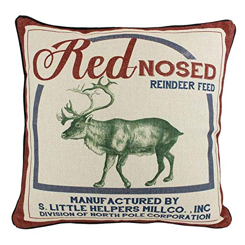 JuniperLab Vintage Christmas Red Nose Reindeer Pillow Covers Farmhouse Throw Pillow Feed Sack Burlap Cushion Cover 16 0