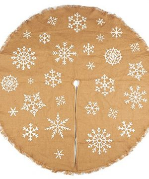 Juvale 60 Inch Christmas Tree Skirt Circular Burlap Xmas Tree Decoration Snowflake Themed Christmas Tree Decor Brown 0 300x360