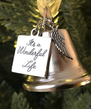 K9King Its A Wonderful Life Inspired Christmas Angel Bell Ornament With Stainless Steel Angel Wing Charm New Larger Size And Now Comes With 2 Interchangeable Ribbons 0 300x360