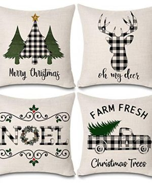 KACOPOL Christmas Buffalo Plaids Deer Christmas Tree Farmhouse Truck Noel Pillow Covers Cotton Linen Throw Pillow Case Cushion Cover 18 X 18 Set Of 4 Christmas Decorations 4 Pack Christmas Plaids 0 300x360