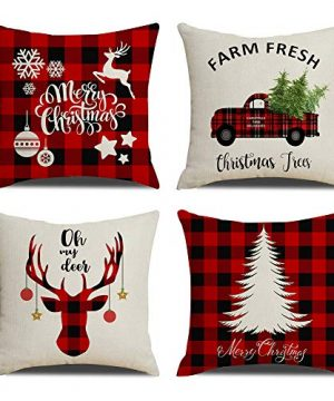 KACOPOL Christmas Decorations Pillow Covers Christmas Tree Snowflake Snowman Reindeer Home Decor Polyester Peach Throw Pillow Case Cushion Cover 18 X 18 Set Of 4 Xmas Gifts Buffalo Plaids 4 Pack 0 300x360