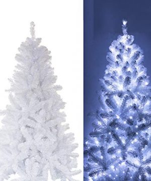 White Christmas Tree With Blue Decorations  from farmhousegoals.com