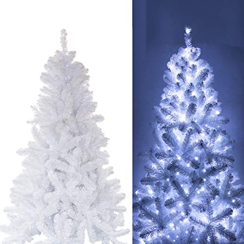 KI Store Artificial White Christmas Tree With Decoration Ornaments Blue And White Christmas Decorations Including 6 Feet Full Christmas Tree 135pcs Ornaments 2pcs 39ft USB Mini LED String Lights 0 0