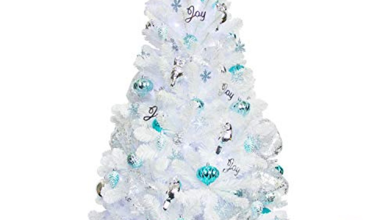 KI Store Artificial White Christmas Tree with Ornaments and Lights Blue and White Christmas Decorations Including 6 Feet…