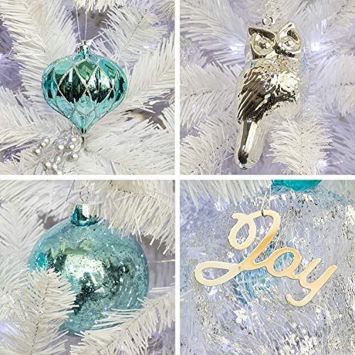 KI Store Artificial White Christmas Tree With Decoration Ornaments Blue And White Christmas Decorations Including 6 Feet Full Christmas Tree 135pcs Ornaments 2pcs 39ft USB Mini LED String Lights 0 2