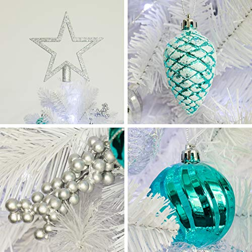 KI Store Artificial White Christmas Tree With Decoration Ornaments Blue And White Christmas Decorations Including 6 Feet Full Christmas Tree 135pcs Ornaments 2pcs 39ft USB Mini LED String Lights 0 3