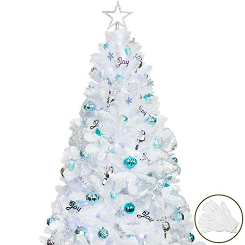 ki store 6ft artificial white christmas tree with ornaments and lights blue christmas decorations including 6 feet full farmhouse goals ki store 6ft artificial white christmas tree with ornaments and lights blue christmas decorations including 6 feet full