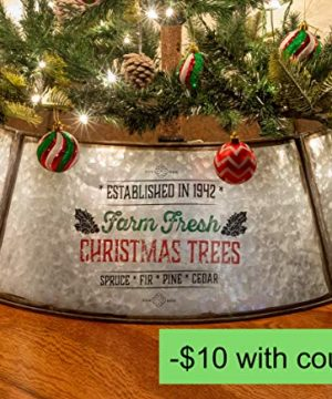 KIBAGA Rustic Farmhouse Easy Set Up Christmas Tree Collar Authentic 30 Tree RingTree Skirt Decorates Your Home For The Holidays 0 0 300x360
