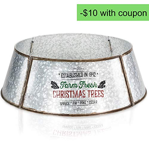KIBAGA Rustic Farmhouse Easy Set Up Christmas Tree Collar Authentic 30 Tree RingTree Skirt Decorates Your Home For The Holidays 0 4