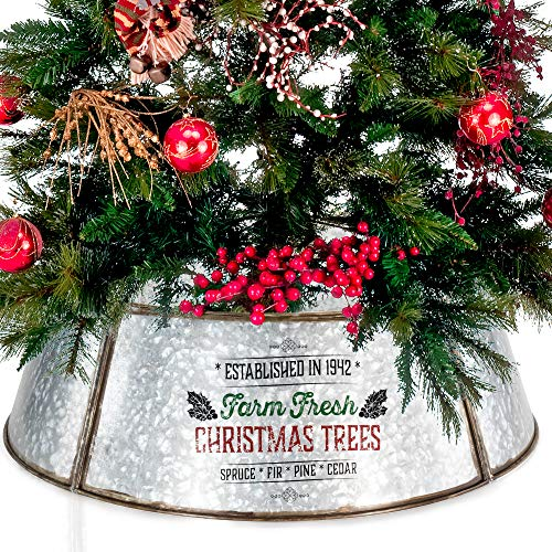 KIBAGA Rustic Farmhouse Easy Set Up Christmas Tree Collar Authentic 30 Tree RingTree Skirt Decorates Your Home For The Holidays 0