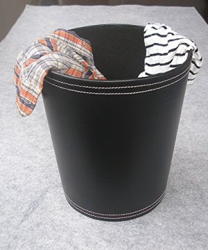 KINGFOM Classic Leather Trash Cans Waste Paper Basket Storage Bin For Bathroom Kitchen Office And High Class Hotel 0 2 300x360
