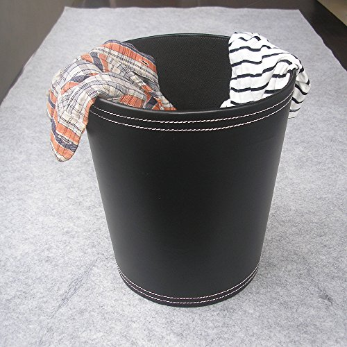 KINGFOM Classic Leather Trash Cans Waste Paper Basket Storage Bin For Bathroom Kitchen Office And High Class Hotel 0 2