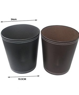 KINGFOM Classic Leather Trash Cans Waste Paper Basket Storage Bin For Bathroom Kitchen Office And High Class Hotel 0 3 300x360