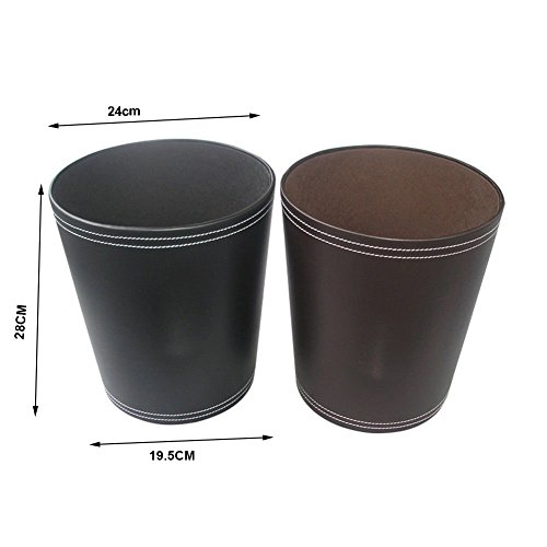KINGFOM Classic Leather Trash Cans Waste Paper Basket Storage Bin For Bathroom Kitchen Office And High Class Hotel 0 3
