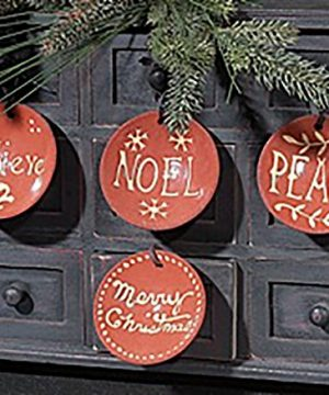 KK Interiors Clay Pottery Message Christmas Ornaments Set Of 4 Believe Noel Peace Merry Christmas 0 0 300x360