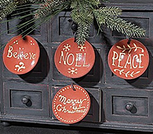 KK Interiors Clay Pottery Message Christmas Ornaments Set Of 4 Believe Noel Peace Merry Christmas 0 0