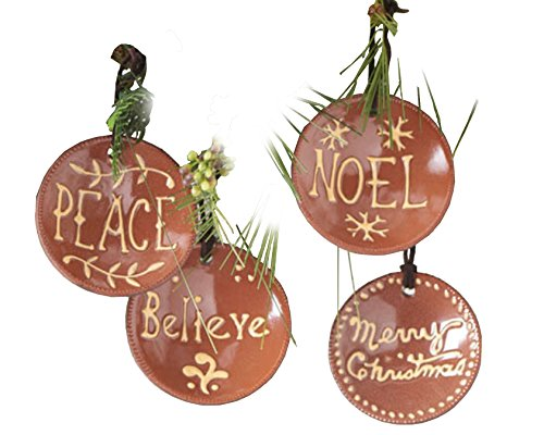 KK Interiors Clay Pottery Message Christmas Ornaments Set Of 4 Believe Noel Peace Merry Christmas 0