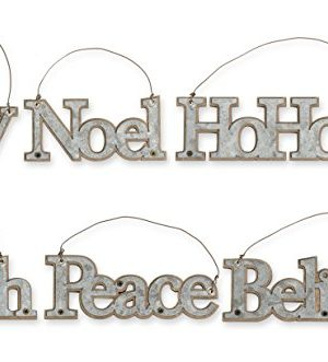 KK Interiors Galvanized Tin Message Christmas Ornaments Set Of 6 Faith Joy Believe Noel Peace HoHoHo 0 300x331