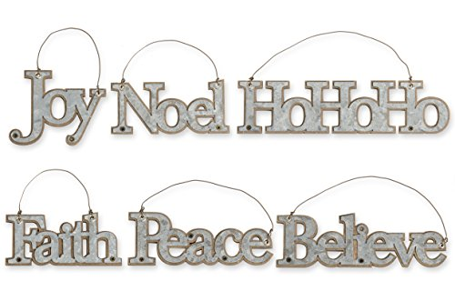 KK Interiors Galvanized Tin Message Christmas Ornaments Set Of 6 Faith Joy Believe Noel Peace HoHoHo 0