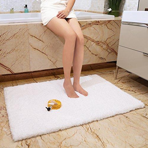 KMAT 32x47 Inch Large Luxury White Bath Mat Soft Shaggy Bathroom Rugs Non Slip Rubber Shower Rugs Microfiber Washable Bath Rug For Floor Bathroom Bedroom Living Room 0 0