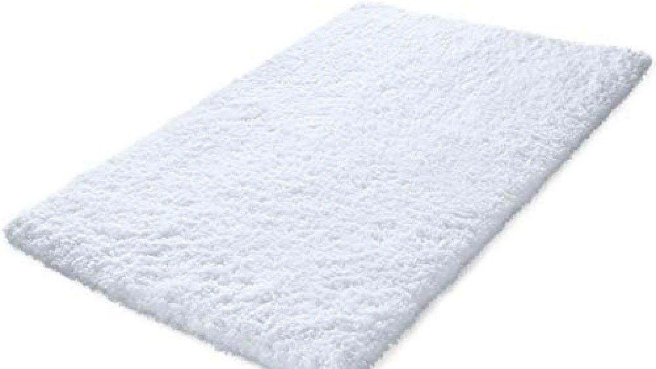 Kmat 32x47 Inch Large Luxury White Bath Mat Soft Shaggy Bathroom Rugs Non Slip Rubber Shower Rugs Microfiber Washable Farmhouse Goals