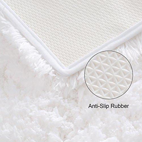 KMAT 32x47 Inch Large Luxury White Bath Mat Soft Shaggy Bathroom Rugs Non Slip Rubber Shower Rugs Microfiber Washable Bath Rug For Floor Bathroom Bedroom Living Room 0 2