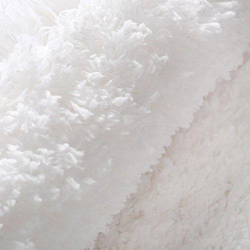KMAT 32x47 Inch Large Luxury White Bath Mat Soft Shaggy Bathroom Rugs Non Slip Rubber Shower Rugs Microfiber Washable Bath Rug For Floor Bathroom Bedroom Living Room 0 3