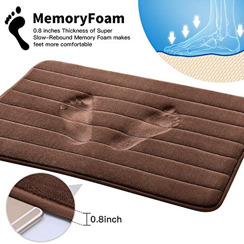 KMAT Bathroom Rugs Bath Mats For Bathroom Luxury Soft Non Slip Memory Foam 3 PCS Mats SetU Shaped 20x24 Toilet Mat30x20 Shower Mat17x47 Bath Mat Absorbent Bath Rugs Machine Washable 0 0
