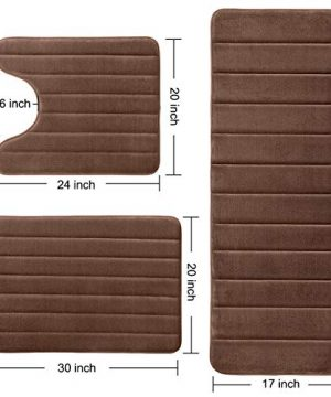 KMAT Bathroom Rugs Bath Mats For Bathroom Luxury Soft Non Slip Memory Foam 3 PCS Mats SetU Shaped 20x24 Toilet Mat30x20 Shower Mat17x47 Bath Mat Absorbent Bath Rugs Machine Washable 0 2 300x360