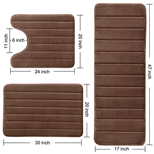 KMAT Bathroom Rugs Bath Mats For Bathroom Luxury Soft Non Slip Memory Foam 3 PCS Mats SetU Shaped 20x24 Toilet Mat30x20 Shower Mat17x47 Bath Mat Absorbent Bath Rugs Machine Washable 0 2