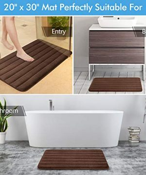 KMAT Bathroom Rugs Bath Mats For Bathroom Luxury Soft Non Slip Memory Foam 3 PCS Mats SetU Shaped 20x24 Toilet Mat30x20 Shower Mat17x47 Bath Mat Absorbent Bath Rugs Machine Washable 0 3 300x360