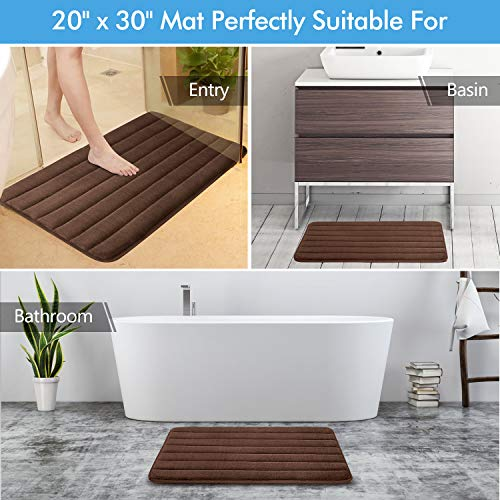 KMAT Bathroom Rugs Bath Mats For Bathroom Luxury Soft Non Slip Memory Foam 3 PCS Mats SetU Shaped 20x24 Toilet Mat30x20 Shower Mat17x47 Bath Mat Absorbent Bath Rugs Machine Washable 0 3