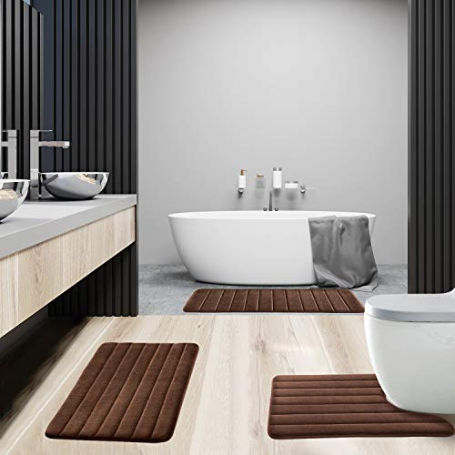 KMAT Bathroom Rugs Bath Mats For Bathroom Luxury Soft Non Slip Memory Foam 3 PCS Mats SetU Shaped 20x24 Toilet Mat30x20 Shower Mat17x47 Bath Mat Absorbent Bath Rugs Machine Washable 0 5