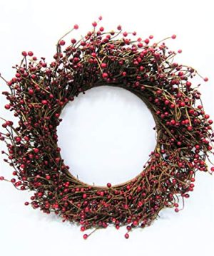 KMI New Homestead Rustic 19 Country Primitive RED Pip Rice Mixed Berry Wreath 0 300x360