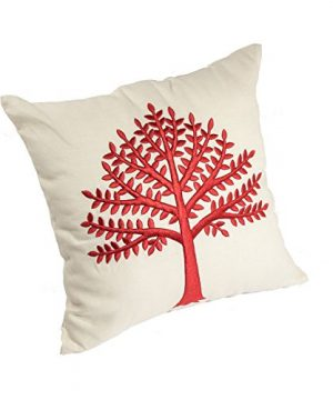 KainKain Red Beige Throw Pillow Tree Botanical Handmade Embroidered Pillow Floral Cushion Cover Farmhouse Cottage Home Decor 26 Inch X 26 Inch 0 0 300x360