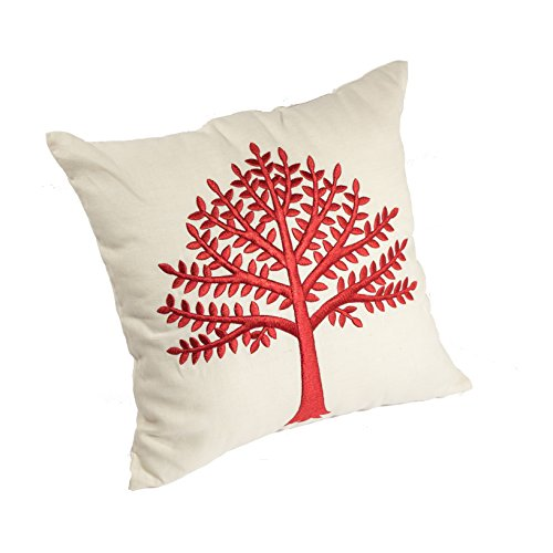 KainKain Red Beige Throw Pillow Tree Botanical Handmade Embroidered Pillow Floral Cushion Cover Farmhouse Cottage Home Decor 26 Inch X 26 Inch 0 0