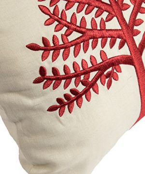 KainKain Red Beige Throw Pillow Tree Botanical Handmade Embroidered Pillow Floral Cushion Cover Farmhouse Cottage Home Decor 26 Inch X 26 Inch 0 1 300x360