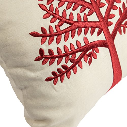 KainKain Red Beige Throw Pillow Tree Botanical Handmade Embroidered Pillow Floral Cushion Cover Farmhouse Cottage Home Decor 26 Inch X 26 Inch 0 1