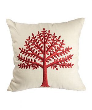 KainKain Red Beige Throw Pillow Tree Botanical Handmade Embroidered Pillow Floral Cushion Cover Farmhouse Cottage Home Decor 26 Inch X 26 Inch 0 300x360