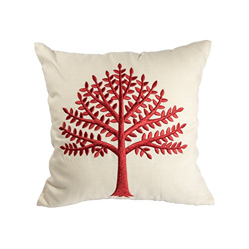 KainKain Red Beige Throw Pillow Tree Botanical Handmade Embroidered Pillow Floral Cushion Cover Farmhouse Cottage Home Decor 26 Inch X 26 Inch 0