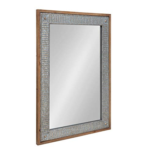 Kate And Laurel Deely Farmhouse Wood And Metal Wall Mirror Rustic Brown 0 0