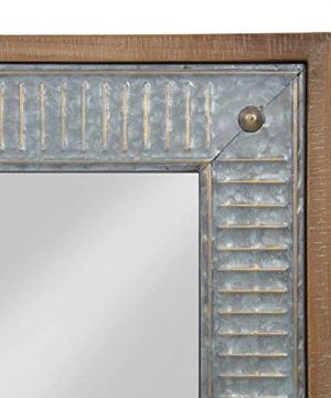 Kate And Laurel Deely Farmhouse Wood And Metal Wall Mirror Rustic Brown 0 1 300x360