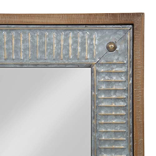 Kate And Laurel Deely Farmhouse Wood And Metal Wall Mirror Rustic Brown 0 1