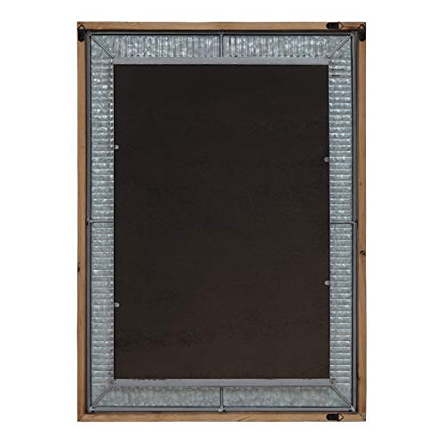 Kate And Laurel Deely Farmhouse Wood And Metal Wall Mirror Rustic Brown 0 2