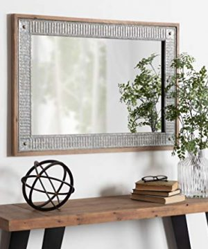 Kate And Laurel Deely Farmhouse Wood And Metal Wall Mirror Rustic Brown 0 3 300x360