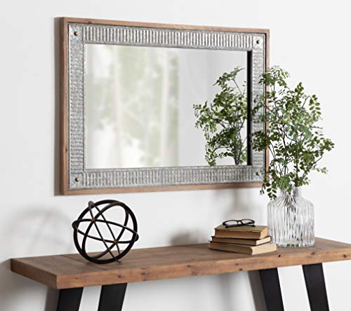 Kate And Laurel Deely Farmhouse Wood And Metal Wall Mirror Rustic Brown 0 3