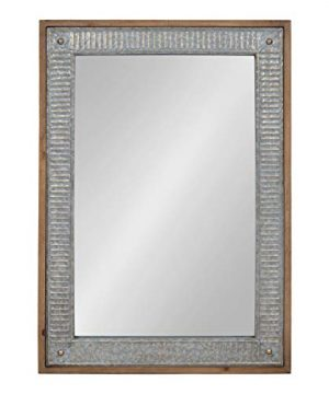 Kate And Laurel Deely Farmhouse Wood And Metal Wall Mirror Rustic Brown 0 300x360