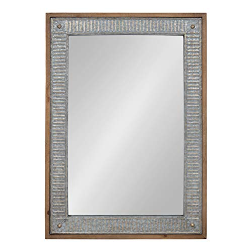 Kate And Laurel Deely Farmhouse Wood And Metal Wall Mirror Rustic Brown 0