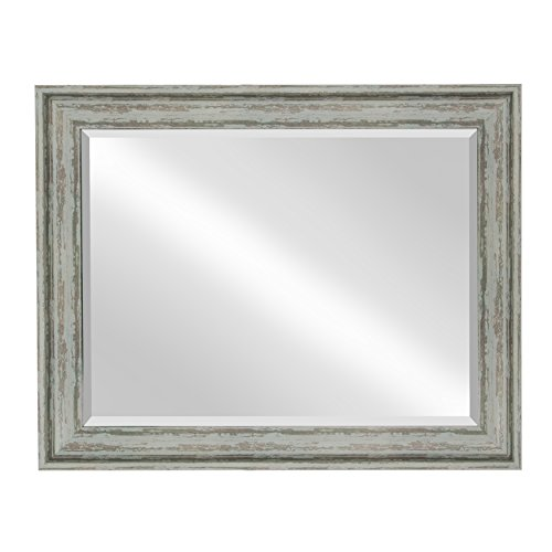 Kate And Laurel McKinley Framed Wall Vanity Beveled Mirror 225x285 Distressed Blue Green 0 0